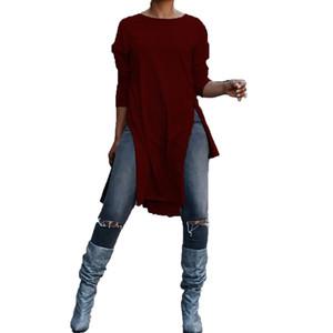 2018 CELMIA Primavera Rodada Long Neck luva frouxo Splits assimétrica Blusa Tops Mulheres Casual Sólidos longo Baggy Trabalho Camisetas