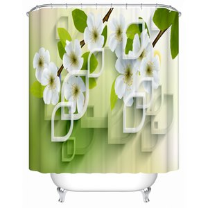 3d Shower Curtain Green and White Floral Pattern Fabric Bathroom Curtain Decor Waterproof Machine Washable