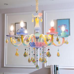 Couture Rainbow Lustre De Cristal de iluminação Europeia Lâmpada de Vela Quarto Sala de Jantar Sala de Jantar Candelabro de Cristal Pingente Lâmpadas