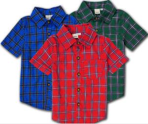 Boys Clothing Short Plaid Shirt Button-Down Tops