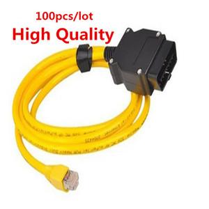100 adet Yeni ESYS 3.23.4 V50.3 Veri Kablosu Için bmw ENET kablosu Ethernet OBD2 Arayüzü Veri E-SYS F-serie DHL için ICOM Kodlama