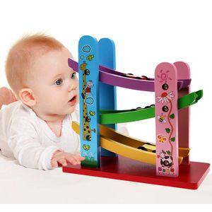 Bebé Juguetes de madera Colorido Coche resbaladizo de madera con 3 Mini Coche Niños Juguetes educativos para niños Cumpleaños Regalo de Navidad