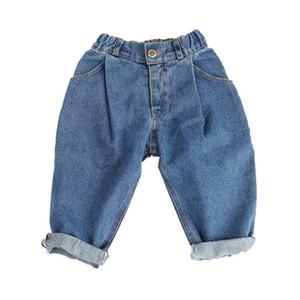 DFXD дети джинсы брюки 2017 Осень девочки мальчики Soild деним синий свободные редис брюки повседневная гарем брюки дети мода джинсы