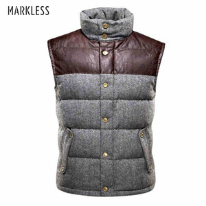 Patchwork Winter Down Vest Men's Clothing 90% White Duck Down Vests Thick Warm Sleeveless Waistcoat Men's Vests