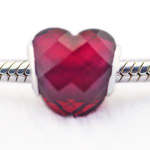 Pandulaso Saint-Valentin Fuchsia Forme de l'Amour Charme Verre Femme Bricolage 925 bijoux en argent sterling fit charmes originaux bracelets bracelets