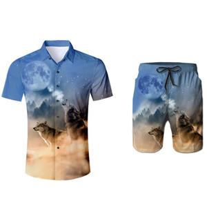2pc set chemise et shorts 3d loup imprimé hommes ensemble chemise d'été poche dropship mode décontractée costumes russie hawaï costume