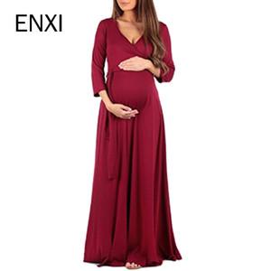 ENXI Maternity Clothing Soft Dress Clothes For Pregnant Women Maternity Dresses Long Dresses Pregnancy Women's Dress Summer