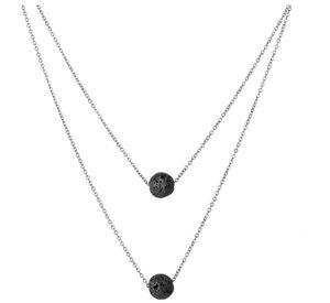 الأزياء الأسود الحمم ستون القلائد خمر متعدد الطبقات سلسلة الضروري النفط الناشر روك الخرز قلادة قلادة المرأة مجوهرات