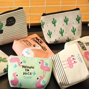Mini Gifts for Guests Souvenirs Flamingo Coin Purse Birthday Party Canvas Zip Wallet Wedding Present for Guests Back to School 100pcs