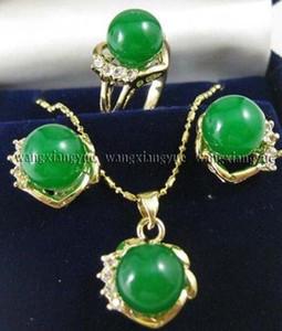 10mm Green Giade Orecchini Anello Collana Collana Set di pendenti * Guarda placcata all'ingrosso Pietra al quarzo Pietra CZ cristallo