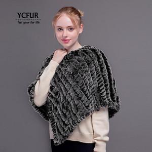 YCFUR Frauen Ponchos Winter stricken Rex Kaninchenfell Schal Schal für Frauen Winter Warm Echtpelz Schals Schals Wraps weiblich