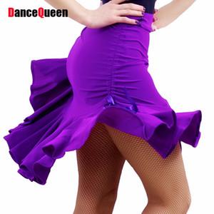 2017 Yeni Lady Latin Dans Etek Womens Için Mor / Siyah Ayarlanabilir Stilleri Latin Dans Elbise Yarışması / Uygulama Dancewear