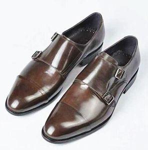 Vintage Style Men Dress Schuhe Double Monk Strap Brown Buckle Oxfords Hochzeit Flache High Quality Dress Schuhe
