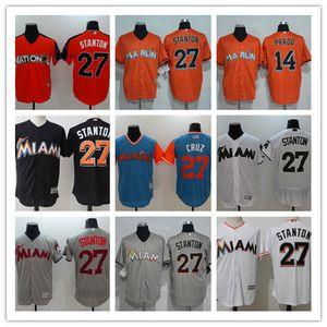 Los hombres de encargo al por mayor de las mujeres Marlins de la juventud Jersey # 14 Martin Prado 27 Giancarlo Stanton Inicio Naranja Blanco Gris camisetas de béisbol