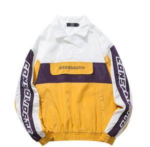 Hip Hop Pullover Chaquetas Abrigos Mens Otoño Streetwear Moda Patchwork Paneles de color Chaquetas Outwear Masculino Tops Para Hombre Abrigos sueltos Chaquetas