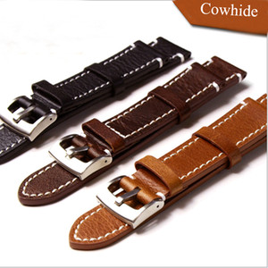Handmade 18mm / 19mm / 20mm 21mm 22mm Preto Marrom De Bezerro De Couro Das Mulheres Dos Homens Pulseira de Relógio, Retro Geral pulseiras de relógio