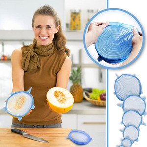 6Pcs Set Silicone Stretch Lids Suction Pot Lids Fresh Keeping Wrap Seal Lid Pan Cover Kitchen Tools Accessories Dishwasher HH7-1057