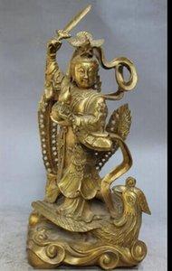 "14 ""Китайский латунный дракон Фея Belle Beauty Богиня Ride Fly Phoenix StatueTaoism"