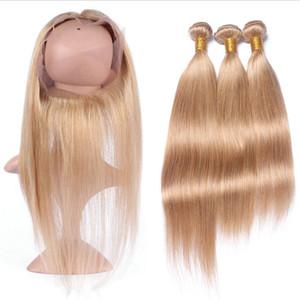 # 27 Honey Blonde 8A 360 Frontal Avec Bundles droite Vierge Cheveux péruvienne Pré plumé 360 Dentelle Frontal Fermeture avec Bundles 4pcs / Lot