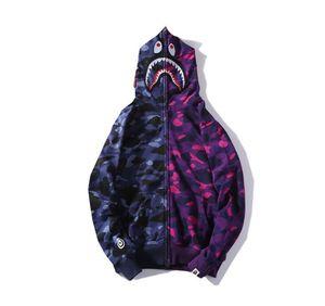Neue Herrenbekleidung Hoodies Jacke Lila Camouflage Shark Print Männer Mode Baumwolle Mit Kapuze Sportbekleidung Innen Fleece Hoody Sweatshirt