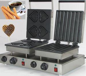 Çift kafaları waffle makinesi KALPLER + CHURROS tarzı elektrikli waffle makinesi paslanmaz çelik Marka Yeni CE Ücretsiz Kargo