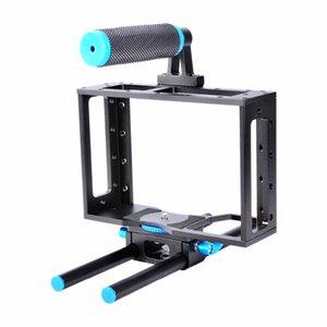 DSLR Mirorless Sistemi Kameralar Standart 1/4 Vida Delikler için toptan C1 Alüminyum Alaşım Kamera Kafes Küçük Rig 15 mm Ray Çubuk