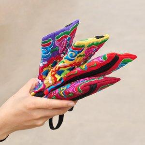 Style National Femmes Embrayage Contraste Couleur Broderie Sac à Main Dragonne Élégant Petit Mini Téléphone Portable Sac Portefeuille Design Unique
