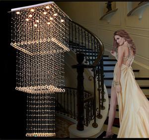 Praça Cristal Modern Chandelier Iluminação Escada de suspensão luminária LED Corredor Interior Lighting Luminaire Suspensão GU10