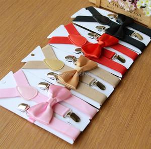 28 couleurs interphones pour bébé réglable solides Tie + Suspenders Braces 2pcs / set ceinture Kid 2,5 * Suspenders 65cm C2341