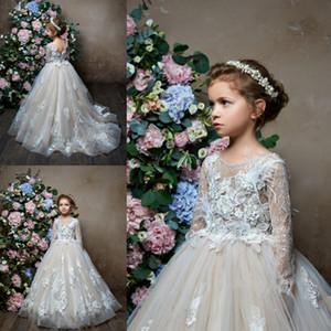 Pentelei 2019 Uzun Kollu Çiçek Kız Elbise Düğün için Tüy Lüks Dantel Küçük Çocuklar Bebek Abiye Custom Made Communion Elbise