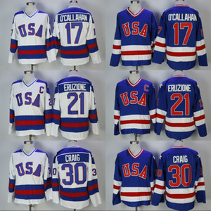 Mens 30 Jim Craig 21 Mike Eruzione 17 Jack O'Callahan 1980 Miracle On Ice Team USA Hockey Jerseys Cheap White Blue