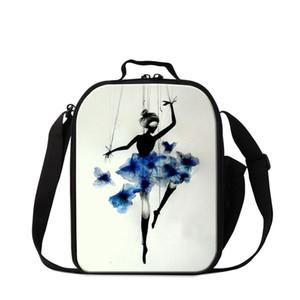 Pequeno Almoço Saco para Crianças Meninas Na Moda Ballet Dancing Girl Cooler Bag Bento Box Personalizado Insufladas Almoço Recipiente Bonito Lancheira Senhoras