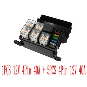 6 가지 방법 1PCS 12V를 가진 자동적 인 상자 집합 4Pin 40A + 5PCS 4Pin 12V 40A 릴레이 자동 차 보험 정제는 퓨즈 상자
