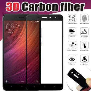 Carbon fiber 3d gehärtetes glas full cover 9 h premium displayschutzfolie schutzfolie für xiaomi mi 8 se 6 plus 6x5 5c 5x5 s hinweis 3 mix 2 s max 2