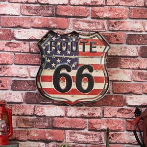2 Opções Emblema Emblema Design Criativo LEVOU Decoração Luz EUA Rota 66 Sinal Da Lata Do Vintage Bar Pub Casa Decoração Da Parede de Arte Do Metal cartaz