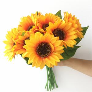 uma peça Artificial girassol Simulação Amarelo única haste Sunflower 32 centímetros longo para Casa Decorações de parede partido