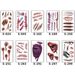 2018 Nuevas cicatrices de Halloween Tatuajes Decoración Pegatina Tatuajes Temporales Fake Scab Maquillaje Fiesta Horror Herida Scary Impermeable Paster suministros de tatuaje