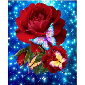 NEW DIY 풀 다이아몬드 자수 꽃 5D 다이아몬드 페인팅 크로스 스티치는 3D 다이아몬드 모자이크 나비 장미 바느질 공예, 선물 로즈