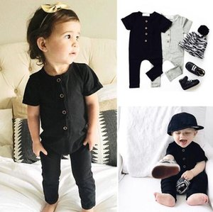 2018 Baby Summer Rompers INS Infant Toddlers Solid Onesies Jumpsuit Baby Boys Girls Short Sleeve Climb Rompers Free Shipping BY0247