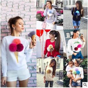 Sıcak Satış Sevimli Bombom Hoodies kadın Mürettebat Boyun Uzun Kollu Katı Kürk Topu Tişörtü Çıkarılabilir Pamuk Hoodies Ücretsiz Kargo