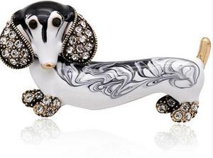 Broches De Chien De Teckel Mignon Pour Les Femmes De La Mode Métal En Cristal Émail Animal Broche Bijoux