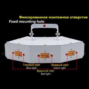 New 6-hole projection laser light control rhythm light bar ktv AC90-240v night field laser light flash DJ 60W DMX Stage Lighting