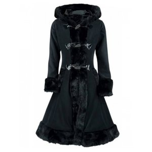Kinikiss Abrigos con capucha de piel para mujer Abrigo de invierno elegante y elegante con botones de cuerno Abrigo largo con cordones Abrigos largos negros góticos vintage