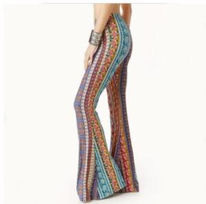 Ropa americana Tribal Vertical Impresión azteca Bell Bottom Legging Suave Mujeres Pantalón acampanado Pierna ancha Impreso Legging 2018