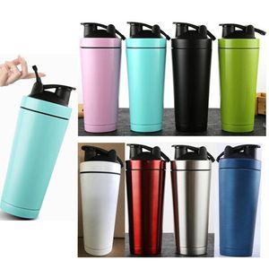 750ml 25 oz Shaker Bottiglia In Acciaio Inox Vacuum Sports Bottiglia di Acqua Proteine Shaker Bottiglie di Miscelazione Per L'acqua Bere Bevanda Tumbler Palestra