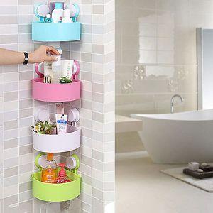 Toptan-Plastik Vantuz Banyo Mutfak Köşe Depolama Raf Organizatör Duş Raf