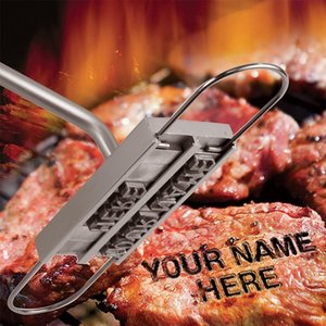 BBQ Barbecue Branding Iron Tools With Changeable 55 Letters Fire Branded Imprint Alphabet Aluminum Outdoor Cooking For Grilling Steak Meat