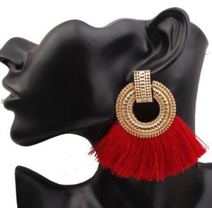 Designer Tassel Stud Earrings Girls Ladies Accesorios de joyería Big Brand Cotton Thread Womens Ear Studs