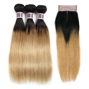 Loira 4x4 cabelo ombre t1b / 27 pacotes Bundles Fechamento Brasileiro Mel reto Colorido com Virgin Weave Humano 3 Cabelo com Pre Lace Clos Hjbh