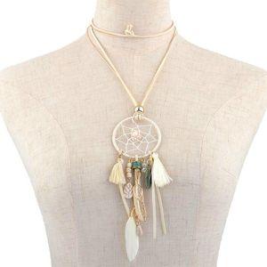 Heißer Verkauf Retro Dreamcatcher Halskette mit Federn und Quaste Hand-Woven Dream Catcher Bären Quaste lange Pullover Kette Halskette